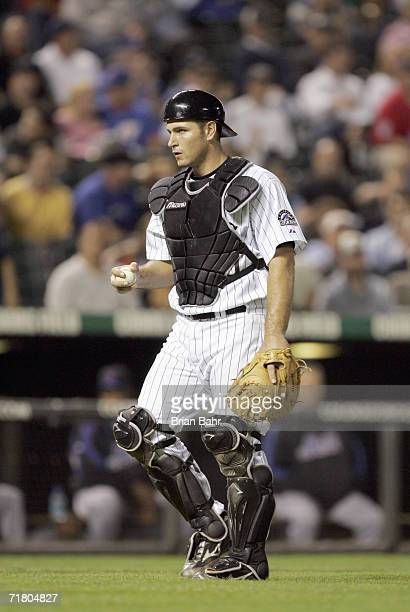 Catcher Chris Iannetta of the Colorado Rockies walks to the mound during the game against the New York Mets on August 31, 2006 at Coors Field in...