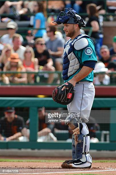Catcher Chris Iannetta of the Seattle Mariners in action during the spring training game against the San Francisco Giants at Scottsdale Stadium on...