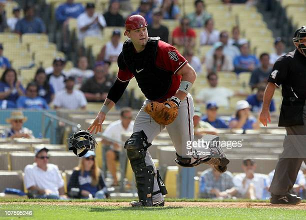 Catcher Chris Snyder of the Arizona Diamondbacks plays against the Los Angeles Dodgers at Dodger Stadium on June 2 2010 in Los Angeles California...