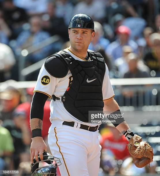 Catcher Chris Snyder of the Pittsburgh Pirates looks on from the field during a Major League Baseball game against the Washington Nationals at PNC...