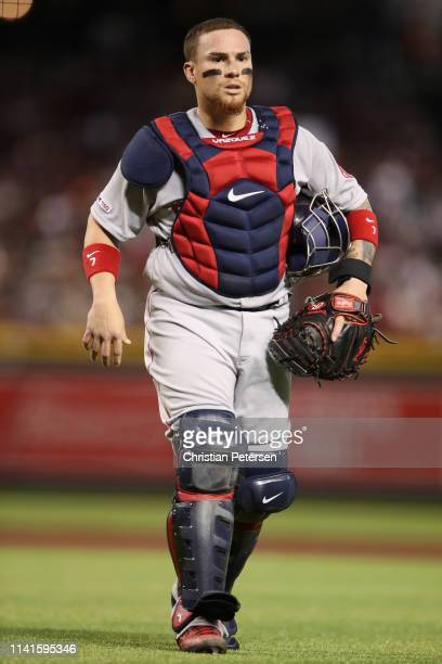 Catcher Christian Vazquez of the Boston Red Sox during the MLB game against the Arizona Diamondbacks at Chase Field on April 06 2019 in Phoenix...