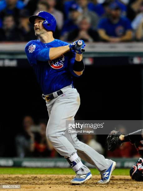 Catcher David Ross of the Chicago Cubs looks on after hitting a home run in the sixth inning of Game 7 of the World Series against the Cleveland...