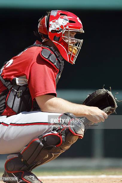 Catcher David Ross of the Cincinnati Reds kneels ready behind the plate during a Spring Training game against the Tampa Bay Devil Rays on March 6,...