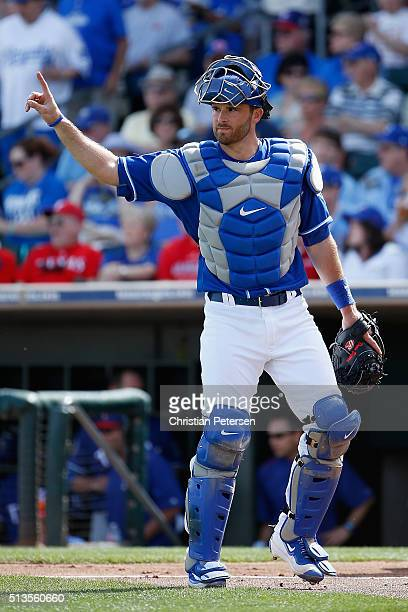 Catcher Drew Butera of the Kansas City Royals during the cactus leauge spring training game against the Texas Rangers at Surprise Stadium on March 2...