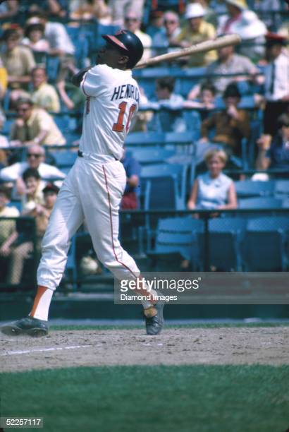 Catcher Elrod Hendricks of the Baltimore Orioles swings at a pitch during a 1970 game at Memorial Stadium in Baltimore Maryland