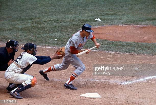 Catcher Elston Howard of the New York Yankees in action against the St Louis Cardinal during the 1964 World Series at Yankee Stadium in the Bronx...