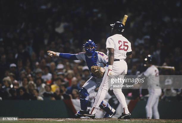 Catcher Gary Carter of the New York Mets implores the umpire to seek a second opinion during the World Series against the Boston Red Sox at Fenway...