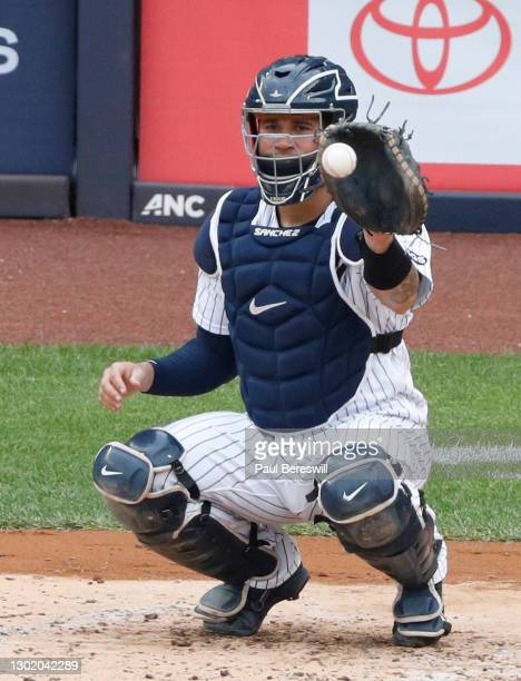 September 26: Catcher Gary Sanchez of the New York Yankees catches a warmup pitch during an interleague MLB baseball game against the Miami Marlins...
