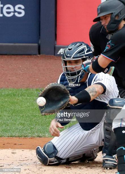 September 26: Catcher Gary Sanchez of the New York Yankees catches pitch for a strike during an interleague MLB baseball game against the Miami...