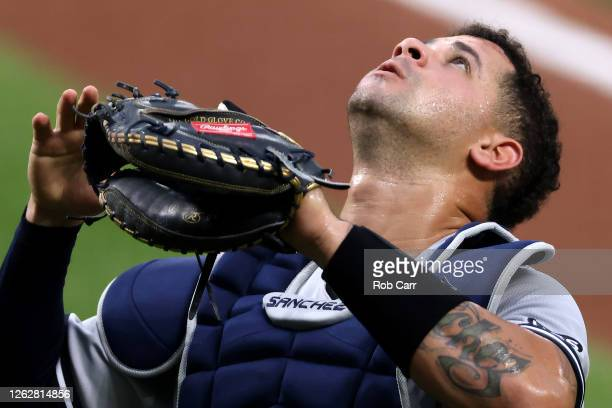 Catcher Gary Sanchez of the New York Yankees follows a foul ball against the Baltimore Orioles at Oriole Park at Camden Yards on July 30, 2020 in...