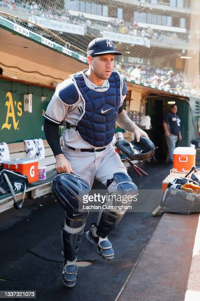 Catcher Gary Sanchez of the New York Yankees leaves the dugout before the game against the Oakland Athletics at RingCentral Coliseum on August 29,...