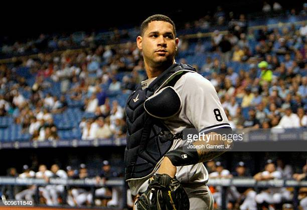 Catcher Gary Sanchez of the New York Yankees looks into the stands during the third inning of their game with the Tampa Bay Rays at Tropicana Field...