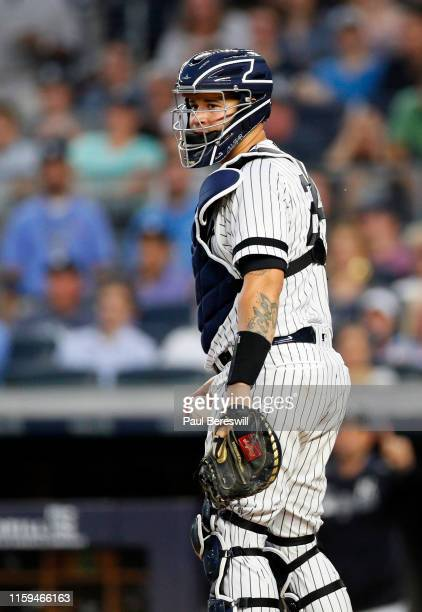 Catcher Gary Sanchez of the New York Yankees looks over in an MLB baseball game against the Toronto Blue Jays on June 25, 2019 at Yankee Stadium in...