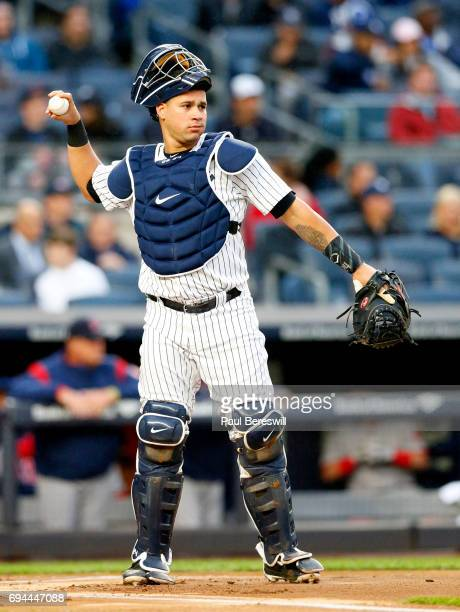 Catcher Gary Sanchez of the New York Yankees throws the ball in an MLB baseball game against the Boston Red Sox on June 6 2017 at Yankee Stadium in...