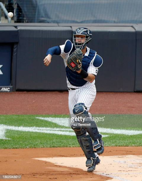 September 26: Catcher Gary Sanchez of the New York Yankees throws to second base in an interleague MLB baseball game against the Miami Marlins on...