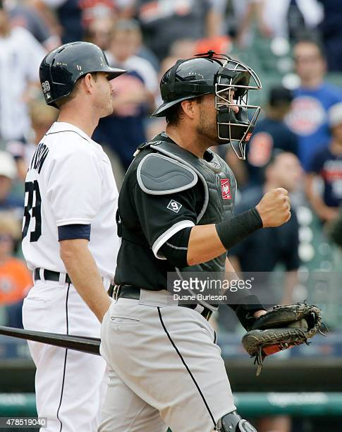 Catcher Geovany Soto of the Chicago White Sox pumps his fist after Josh Wilson of the Detroit Tigers struck out in the 10th inning to end the game at...