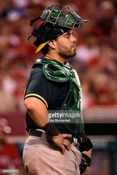 Catcher Geovany Soto of the Oakland Athletics looks on during the game against the Los Angeles Angels of Anaheim at Angel Stadium of Anaheim on...