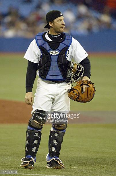 Catcher Gregg Zaun of the Toronto Blue Jays looks on against the Boston Red Sox during their MLB game at the Rogers Centre September 19 2007 in...