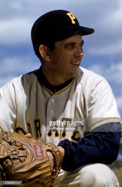 Catcher Hank Foiles of the Pittsburgh Pirates sits in the dugout during an MLB Spring Training game circa March 1957 in Fort Myers Florida