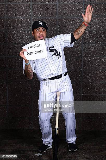 Catcher Hector Sanchez of the Chicago White Sox poses for a portrait during spring training photo day at Camelback Ranch on February 27 2016 in...