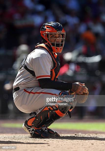 Catcher Hector Sanchez of the San Francisco Giants in action during the MLB game against the Arizona Diamondbacks at Chase Field on April 3 2014 in...