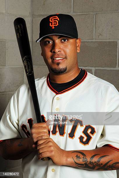 Catcher Hector Sanchez of the San Francisco Giants poses during spring training photo day on March 1 2012 in Scottsdale Arizona