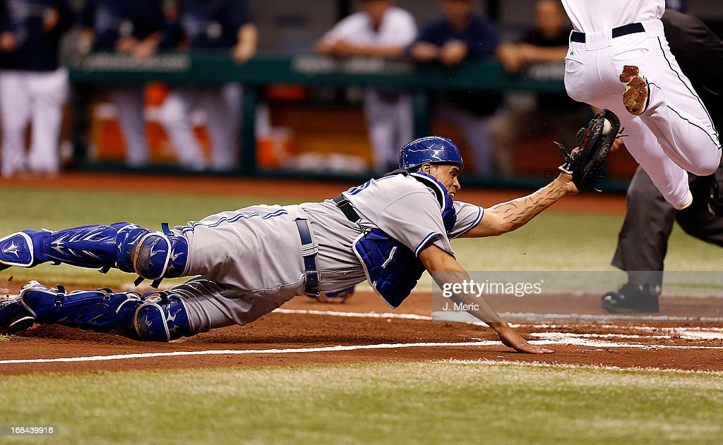 Catcher Henry Blanco #22 of the Toronto Blue Jays just misses the runner with the tag at home against the Tampa Bay Rays during the game at Tropicana Field on May 9, 2013 in St. Petersburg, Florida.