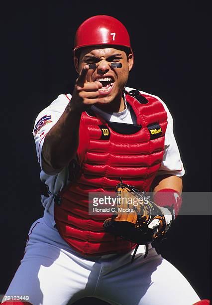 Catcher Ivan Pudge Rodriguez in The Ballpark at Arlington in 1997 in Arlington Texas