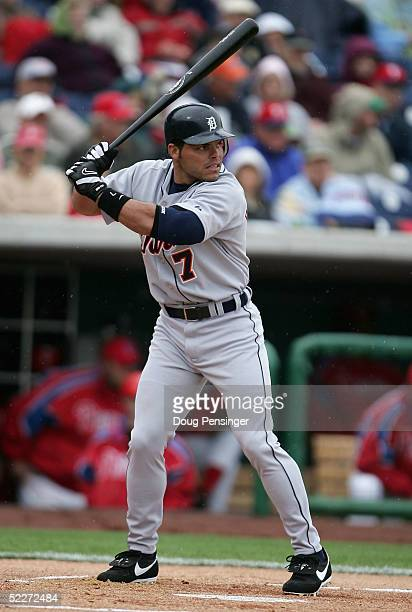 Catcher Ivan Rodriguez of the Detroit Tigers faces the Philadelphia Phillies during MLB Spring Training action at the Bright House Networks Field on...
