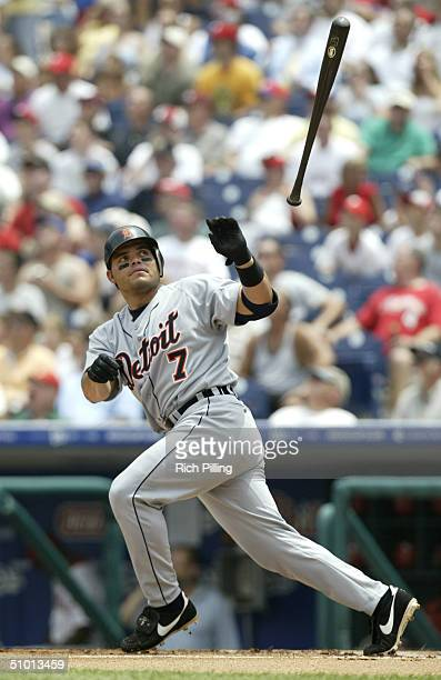 Catcher Ivan Rodriguez of the Detroit Tigers looses control of the bat during the interleague game against the Philadelphia Phillies at Citizens Bank...