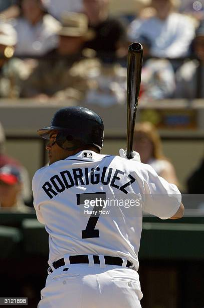 Catcher Ivan Rodriguez of the Detroit Tigers prepares for the Cleveland Indians pitch during the game at Joker Marchant Stadium on March 10 2004 in...