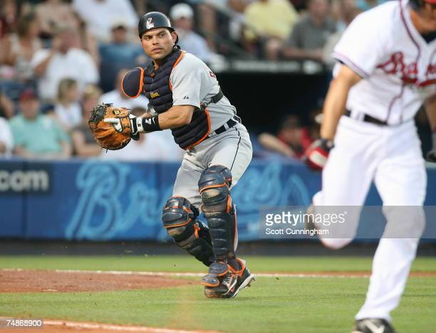 Catcher Ivan Rodriguez of the Detroit Tigers throws out a runner against the Atlanta Braves at Turner Field on June 22 2007 in Atlanta Georgia The...