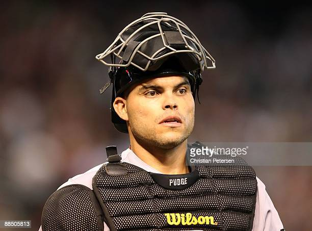 Catcher Ivan Rodriguez of the Houston Astros during the major league baseball game against the Arizona Diamondbacks at Chase Field on June 14 2009 in...