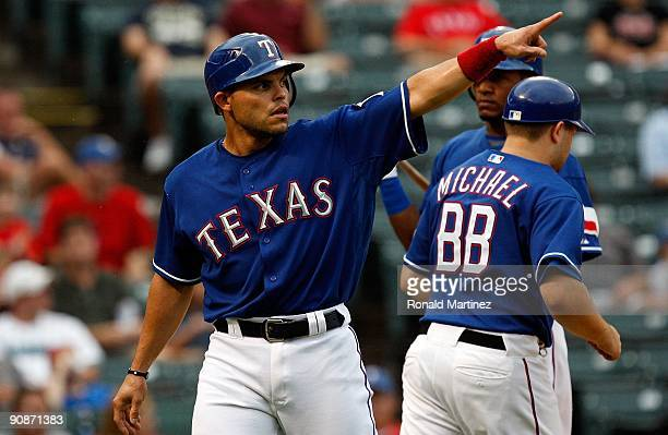 Catcher Ivan Rodriguez of the Texas Rangers on September 12 2009 at the Ballpark in Arlington Texas