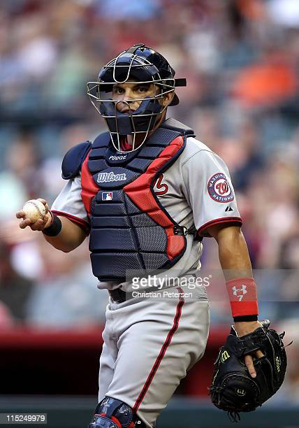 Catcher Ivan Rodriguez of the Washington Nationals in action during the Major League Baseball game against the Arizona Diamondbacks at Chase Field on...