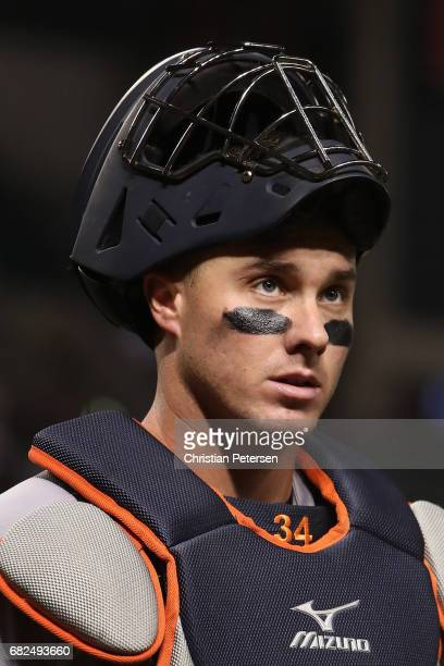 Catcher James McCann of the Detroit Tigers during the MLB game against the Arizona Diamondbacks at Chase Field on May 9 2017 in Phoenix Arizona