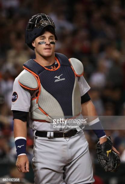 Catcher James McCann of the Detroit Tigers in action during the MLB game against the Arizona Diamondbacks at Chase Field on May 9 2017 in Phoenix...