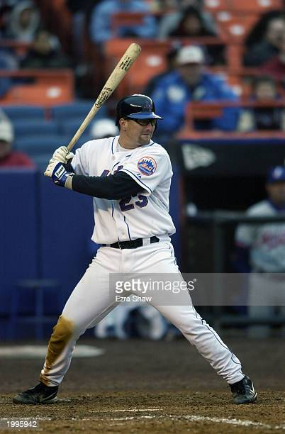Catcher Jason Phillips of the New York Mets waits for the pitch during the game against the Montreal Expos at Shea Stadium on April 5, 2003 in...
