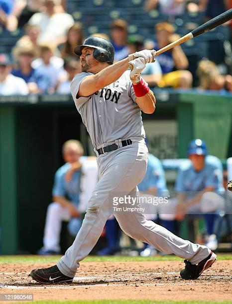 Catcher Jason Varitek of the Boston Red Sox bats against the Kansas City Royals at Kauffman Stadium on August 21 2011 in Kansas City Missouri The Red...
