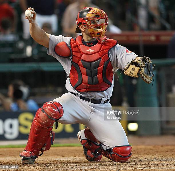 Catcher Jason Varitek of the Boston Red Sox is shown during a baseball game against the Houston Astros at Minute Maid Park on July 3 2011 in Houston...