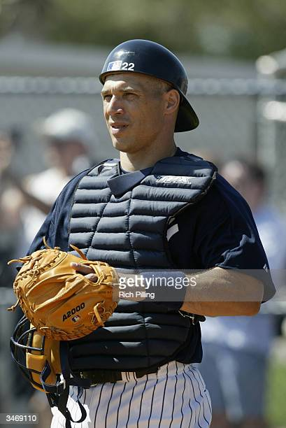 Catcher Joe Girardi of the New York Yankees stands on Legends Field during the preseason game against the Pittsburgh Pirates on March 11 2004 in...