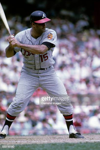 Catcher Joe Torre of the Atlanta Braves at bat during a game in 1967 against the Cincinnati Reds at Cinergy Field in Cincinnati Reds Ohio