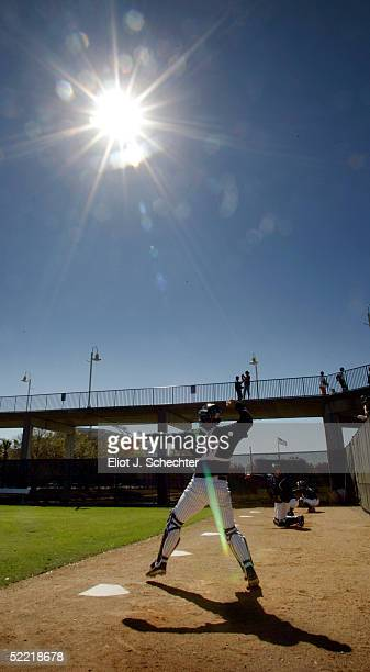 Catcher John Flaherty of the New York Yankees catches in the bull pen during Major League Baseball Spring Training on February 19, 2005 at Legends...