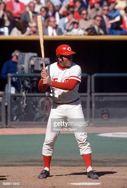 Catcher Johnny Bench of the Cincinnati Reds bats against the Oakland Athletics during the World Series in October 1972 at Riverfront Stadium in...
