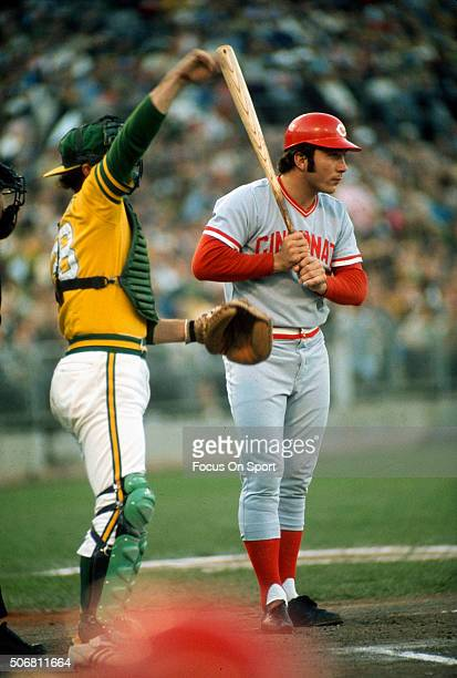 Catcher Johnny Bench of the Cincinnati Reds looks on before batting against the Oakland Athletics during the World Series in October 1972 at The...