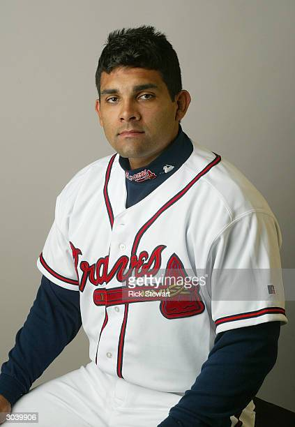 Catcher Johnny Estrada of the Atlanta Braves poses for a picture during Media Day at Disney's Wide World of Sports Complex on February 27 2004 in...