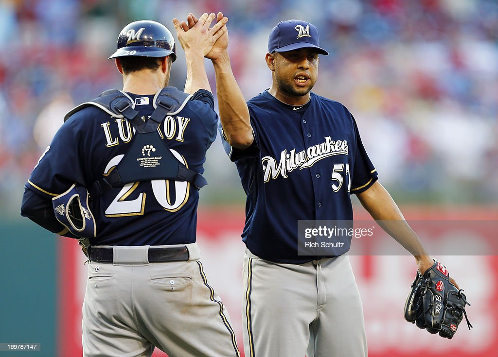 Catcher Jonathan Lucroy #20 congratulates closer Francisco Rodriguez #57of the Milwaukee Brewers after defeating the Philadelphia Phillies 4-3 in a MLB baseball game on June 1, 2013 at Citizens Bank Park in Philadelphia, Pennsylvania.
