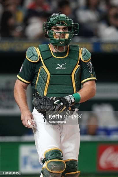 Catcher Josh Phegley of the Oakland Athletics is seen in the bottom of 1st inning during the preseason friendly game between Hokkaido NipponHam...
