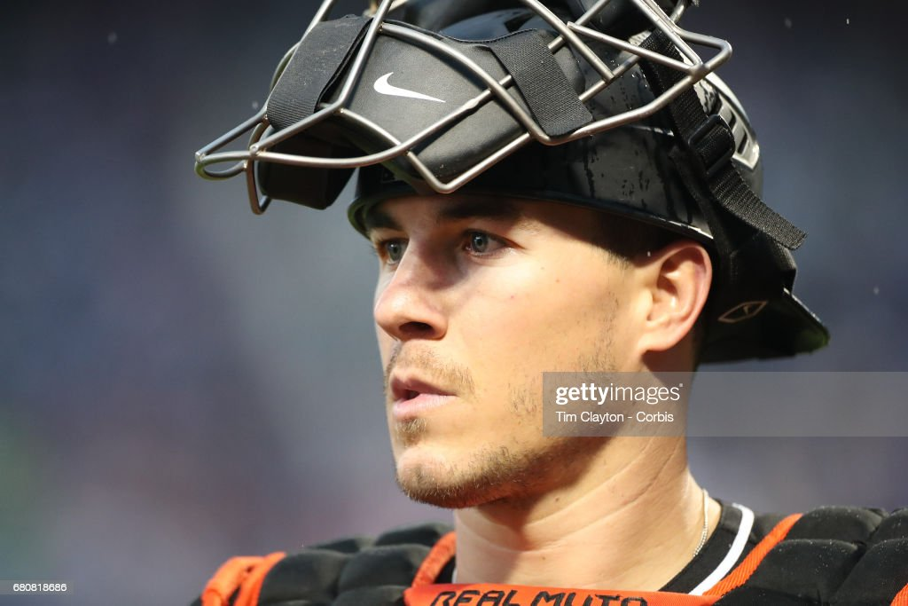 Catcher J.T. Realmuto #11 of the Miami Marlins during the Miami Marlins Vs New York Mets regular season MLB game at Citi Field on May 06, 2017 in New York City.