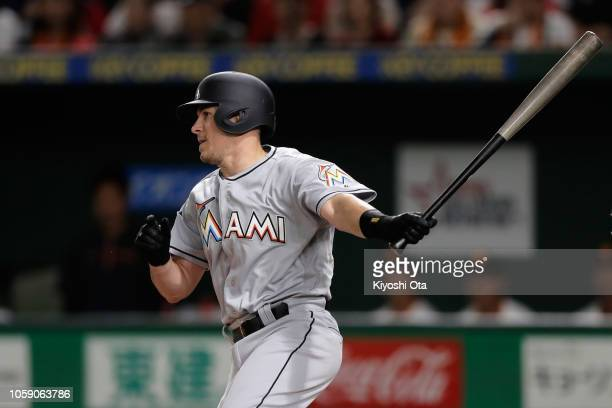 Catcher JT Realmuto of the Miami Marlins grounds out in the top of 2nd inning during the exhibition game between Yomiuri Giants and the MLB All Stars...